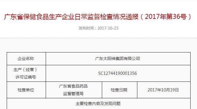 54项检查全部符合要求!广东食药监公布秒速快三日常监督检查情况
